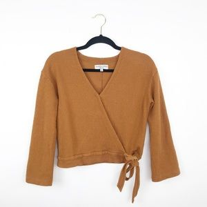 Madewell mustard yellow wrap cropped blouse